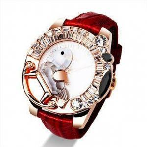 Red Trojan Crystal Watch for Girls