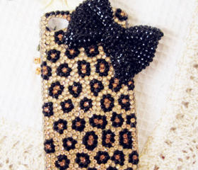 Leopard Bowknot Hard Case For iPhone4/4s