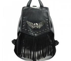 Skull Head and Wings Backpack