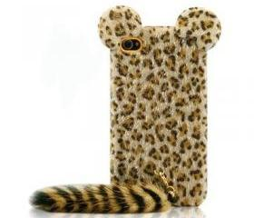 Cute Leopard Print iPhone 4 / 4s Case with Panther Tail